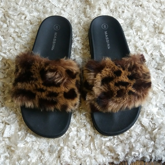 Massini Shoes   Faux Fur Leopard Print